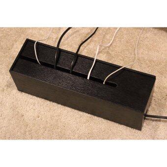 HPTJ กล่องเก็บสายไฟ ไม้อัดทาสีดำ เคลือบกันเชื้อรา