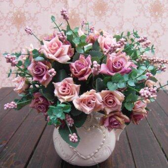 Aukey 1Bunch ประดิษฐ์ดอกกุหลาบดอกไม้การตกแต่งบ้านงานซ่อมนู่น (สีชมพู)