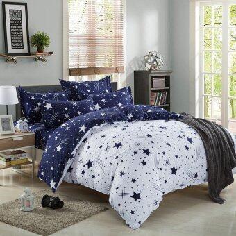 Lily ผ้าปูที่นอน 6 ฟุต 5 ชิ้น + ผ้านวม เกรด A รุ่น PP005 - สีน้ำเงิน