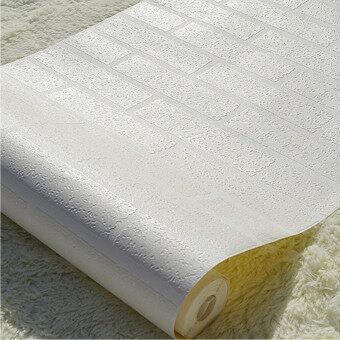 10แผ่นอิฐรูปแบบ 3D ขาวเนื้อไม่ใช่ทอม้วนกระดาษบนผนังวอลเปเปอร์มาย - intl (image 2)