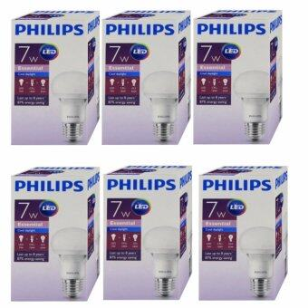 Philips หลอดไฟ LED Bulb 7W Essential Cool Daylight แสงขาวเดย์ไลท์ ขั้วเกลียว E27 ( 6 หลอด )