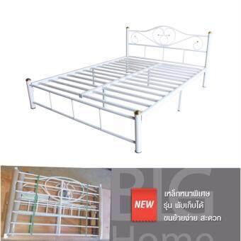 ISO เตียงเหล็กหนาพิเศษ 5 ฟุต ขา2นิ้ว รุ่นโฟกัส สีขาว