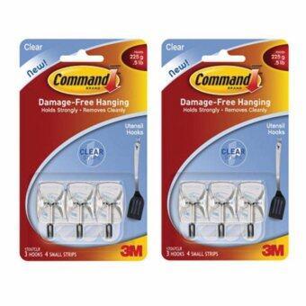 คอมมานด์ 3M ตะขอแกนเหล็กอเนกประสงค์พื้นหลังใสขนาดเล็ก SMALL WIRE HOOKS WITH CLEAR STRIPS 17067CLR (แพ๊คคู่)