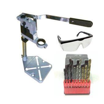 แท่นจับสว่านไฟฟ้า รุ่นหนา drill stand cast iron base พร้อม ดอกสว่าน 9 ตัวชุด และ แว่นตากันสะเก็ด