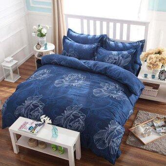 Lily ผ้าปูที่นอน 6 ฟุต 5 ชิ้น + ผ้านวม เกรดเอ รุ่น PR033 (สีน้ำเงินเข้ม)