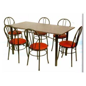 Asia ชุดโต๊ะอาหาร 5 ฟุต + เก้าอี้เบาะหนัง 6 ตัว รุ่นบองก้า