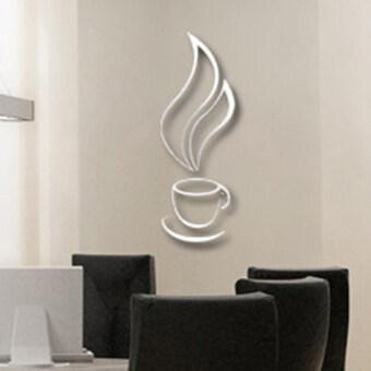 แมคเงิน 3D Wallsticker ถ้วยกาแฟเย็นระฆังนิยมทำงานฝีมือด้วยสติ๊กเกอร์ติดผนังวอลล์เปเปอร์สำหรับการตกแต่งบ้านห้องครัว