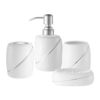 ชุดกระปุกห้องน้ำเซรามิก 4 ชิ้น (สีขาว)