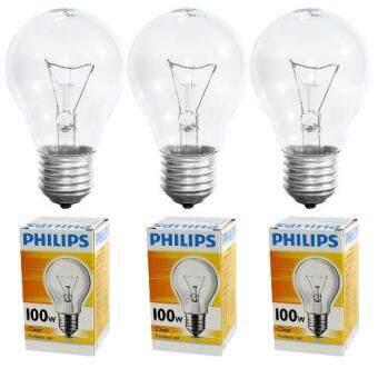 PHILIPS หลอดไฟ อินแคนเดสเซนต์ ฟีลิปส์ 100W หลอดไส้ เกลียว E27 หลอดใส CLEAR (3หลอด)