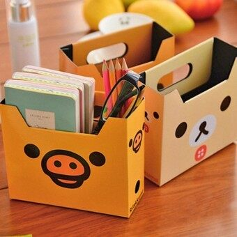 Harga 3pc cartoon bear office desk box/paper DIY pen holder / pencil container / mini storage box - intl