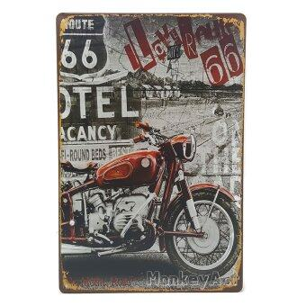 MonkeyAct ป้ายสังกะสีวินเทจ Route 66 with Red Motorcycle