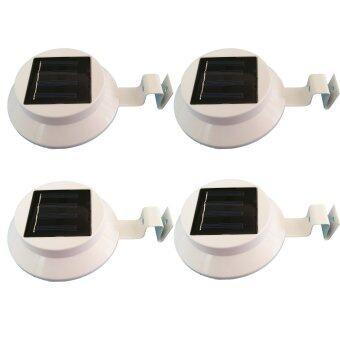 โคมไฟโซล่าเซลล์แบบกลม 3 LED (LED ขนาดใหญ่) แสงสีขาว (ชุด 4 ชิ้น)