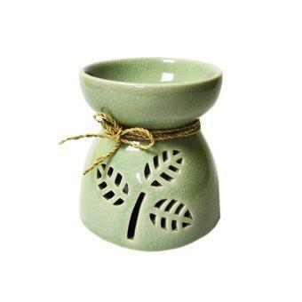 Aroma & More เตาเผาน้ำมันหอมระเหยศิลาดล ลายใบไม้ - สีเขียว