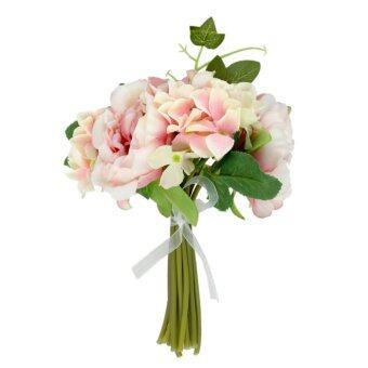ไหมเทียมดอกกุหลาบช่อดอกไม้แต่งงานสาวดอกไฮเดรนเยียสีม่วงอ่อน