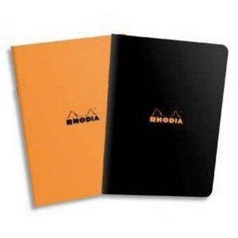 Rhodia เซ็ตสมุดโน๊ตขนาดเล็ก 2 เล่ม รุ่น Rhodia Classic กระดาษสีขาว มีเส้น ปกสีดำ สีส้ม (อย่างละ 1 เล่ม)