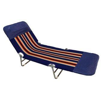 SMH เตียงนอนพับได้ 3 พับ ผ้าขนปุย รุ่น Picnic-Blue (สีน้ำเงิน)