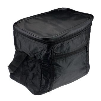 ฉนวนกันความร้อนกันน้ำร้อนตายแบบพกพากระเป๋าอาหารกลางวันแบบปิกนิก (สีดำ)