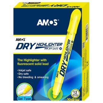 ปากกาเน้นข้อความ Amos Dry Highlighter สีเหลือง