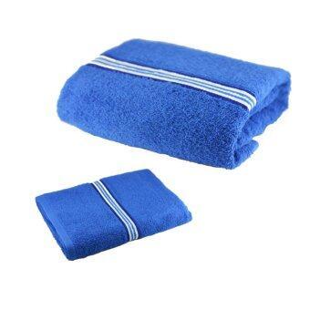 Shipper เซทผ้าขนหนู ขนาด 27x54 และ 15x30 นิ้ว (สีน้ำเงิน) Pack 1 set