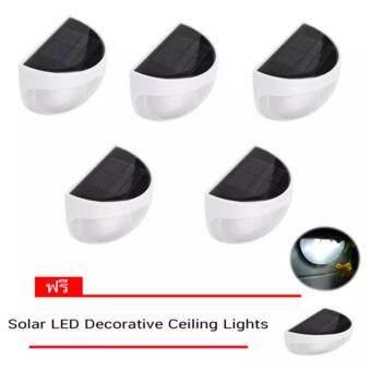 โคมไฟ LED พลังงานแสงอาทิตย์กันน้ำ Solar LED โซล่าเซลล์ 6 LED ทรงกลม 5 ชิ้น ฟรี 1