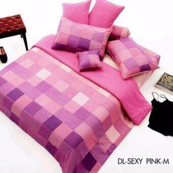 Dunlopillo ผ้าปูที่นอน+ปลอกหมอนหนุน 2ใบ+ปลอกหมอนข้าง 2ใบ ลายDL-SEXY PINK-M ขนาด 6ฟุต