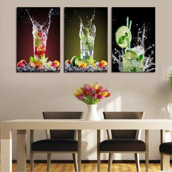 ชุด 3 ภาพวาดแก้วเครื่องดื่มน้ำมะนาวเป็นศิลปะการตกแต่งรูปภาพราคาบ้านใหม่บนกำแพงงานศิลปะภาพพิมพ์บนผ้าใบ (ไม่มีกรอบ)