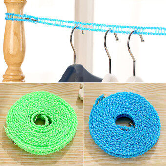 Harga 4ever 2pcs 3M/5M Adjustable Windproof Anti-slip Outdoor Drying Clothes Hanger Clothesline Rope - intl