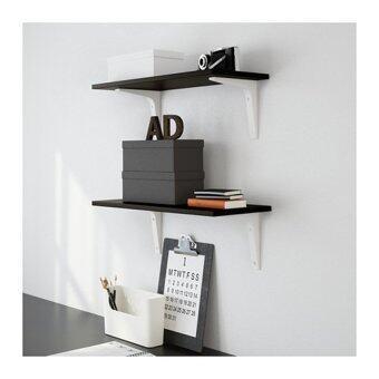 PR Furniture ชั้นไม้ ขนาด 24 x 59 x 1.5 ซม. (สีโอ๊ค) พร้อมฉากรับชั้น (สีขาว) (image 2)