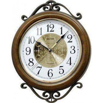 RHYTHM นาฬิกาแขวนไม้ ดนตรี รุ่น CMH754NR06 - สีน้ำตาล/สีทอง