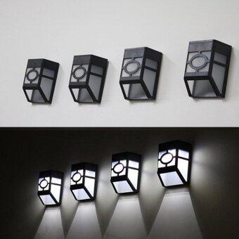 โคมไฟแสงสว่างติดฝาผนัง/ริมรั้ว พลังงานแสงอาทิตย์ ขนาด 2LED4 pcs
