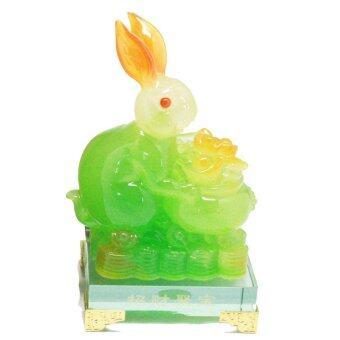 LEE TAI FU กระต่ายถุงทองหยกฐานแก้ว