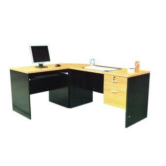 RF Furniture ชุดโต๊ะทำงานเข้ามุม หน้าท็อปผิวเมลามีน รุ่น ปาล์มมี่ ( สีเชอร์ร่/ดำ )