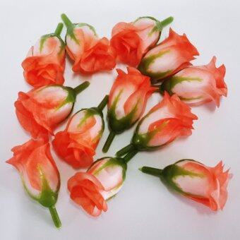 Dokpikul-หัวดอกกุหลาบปลอม ดอกแย้ม ดอกไม้ผ้าประดิษฐ์ ขนาด 5ซม.แพค 100ดอก-สีขมิ้นปูนก้นขาว