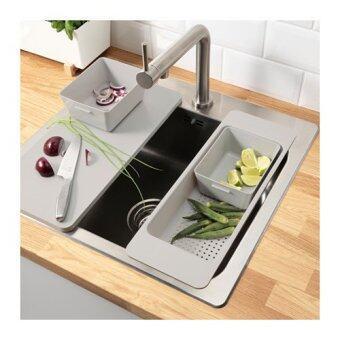 ถังล้างจาน,ขนาด13.7x16.8ซม.สีเทา HomeSmile