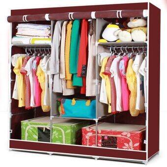 HOUSE BRAND ตู้เสื้อผ้า พร้อมผ้าคลุม 3 บล็อค (สีแดงเลือดหมู)