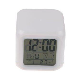 7 สีเรืองแสงนาฬิกาดิจิตอลเครื่องวัดอุณหภูมิเปลี่ยนสัญญาณคิวบ์