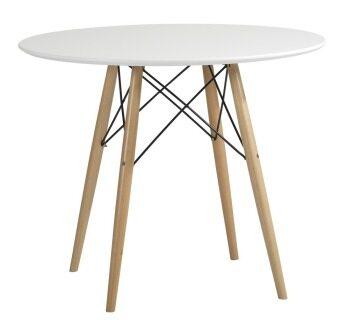 Daiso โต๊ะกลมหน้าHi gloss ขาไม้ผสมเหล็ก รุ่น T-141 (สีหน้าขาว)