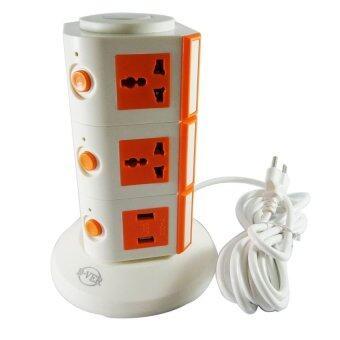 STS ปลั๊กไฟทาวเวอร์ 3 ชั้น+ USB Tower Plug+USB - Orange