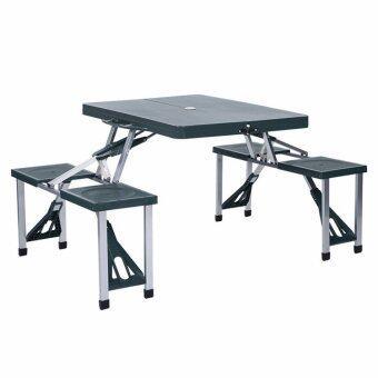 โต๊ะปิคนิคพับได้ รุ่นพลาสติก ABS 4 ที่นั่ง (สีเขียวเข้ม)