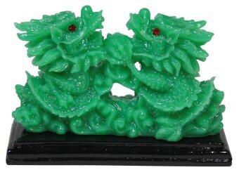 LEE TAI FU มังกรคู่ลูกแก้วติดฐานหยก ( สีเขียว )