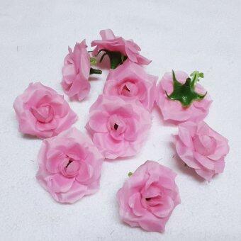 Dokpikul-หัวดอกกุหลาบปลอม ดอกไม้ผ้าประดิษฐ์ กุหลาบพวง สีชมพู 5.5ซม. แพค 100ดอก