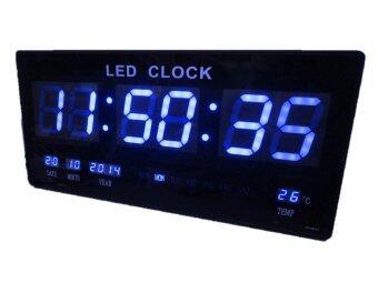 GooAB Shop นาฬิกา LED ติดฝาผนัง แบบบาง ตัวเลข 3 นิ้ว ขนาด 18 นิ้ว ไฟสีฟ้า