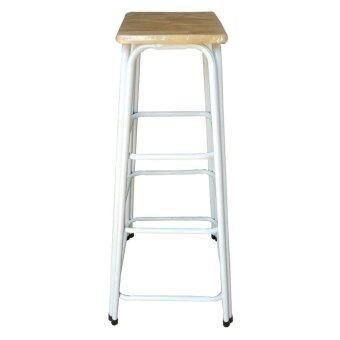 Richer เก้าอี้สตูลขาคู่ สูง42นิ้ว ( สีขาว-ท้อปไม้ยางพารา )