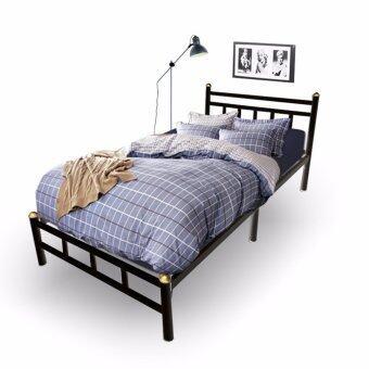 Asia เตียงเหล็กอย่างหนา พับได้ ขนาด 3.5ฟุต รุ่น Vintage สีดำ