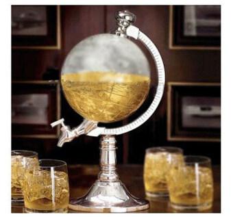 Leegoal ดื่มเหล้าเป็นรูปลูกโลกบรรจุกระป๋องเบียร์ดื่มเหล้าสูบสูบเดียว (เงิน)