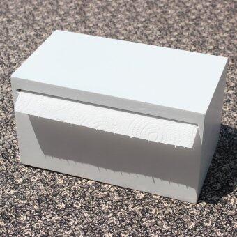 HPTJ กล่องใส่กระดาษทิชชู่ม้วนใหญ่ กล่องใส่กระดาษอเนกประสงค์ สีขาว ทำจากไม้
