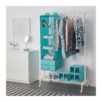 ชั้นแขวน ที่เก็บของอเนกประสงค์ และเสื้อผ้า 6ช่อง พับเก็บได้ สีฟ้าอ่อน (Me Time)