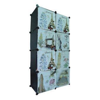 I-YO DIY Cabinet ตู้เสื้อผ้า+ตู้เก็บของ 8 ช่อง ลายวินเทจ (สีดำ)