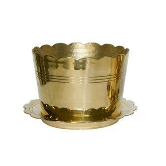Thai Bronze กระถางธูปจานรองทองเหลืองขนาด 3 นิ้ว - สีทอง