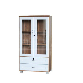 RF Furniture ตู้เอนกประสงค์ ทั้งเก็บเอกสาร และ โชว์ของรุ่น FL0802 ( สีคาปูชิโน่/ขาว )